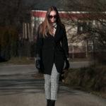 kabát, fekete, elegáns, stílus